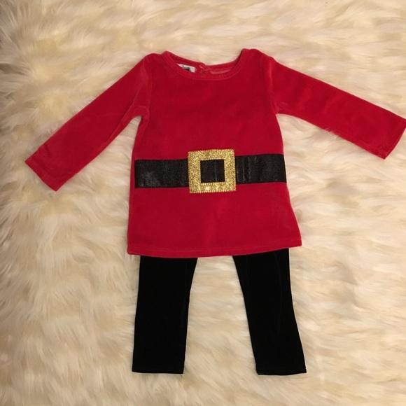 Mud Pie Christmas 2-pc holiday Santa skirt set fur trim leggings 6-9 /& 9-12 NWT